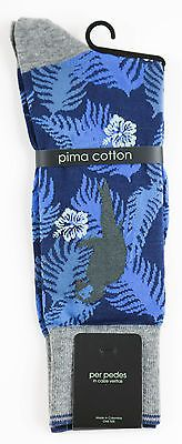 Men's PER PEDES Birds of a Feather Navy Blue Mercerized Cotton Socks NWT $32
