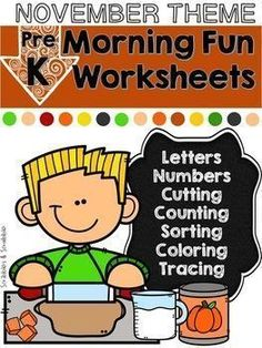 Aug 5, 2020 - No Prep Math and Literacy Worksheets for preschoolers. 24 unique pages that provide lots of opportunities for little learners to practice basic skills. Topics included:Counting. Shapes. Matching a picture with the beginning sound letter. Coloring. Cutting along the lines. Color by number. Tracing. ... Reading Resources, Teacher Resources, School Resources, Decoding Strategies, Thanksgiving Worksheets, Literacy Worksheets, Fun Math, Math Math, Fall