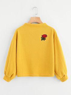 Shein Embroidered Applique Lantern Sleeve Sweatshirt