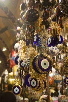 Istanbul bazaar evil eye pendants