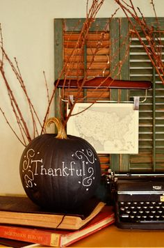 chalkboard pumpkins and pots