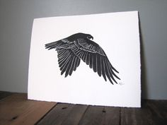 Hawk Linocut Block Relief Print  Falconry Bird Red by CoffeeInBed, $20.00