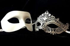 Wedding Masquerade Ball Mask Set Carnival Prom Party Couple Masquerade Mask Pair #Handmade