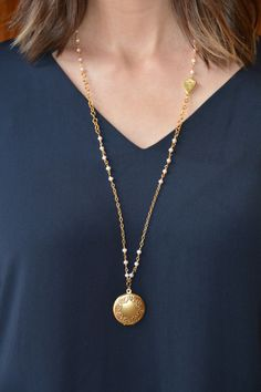 Gold Necklace with Freshwater Pearls and Engraveable Vintage Floral Locket by ExVoto Vintage Jewelry