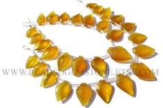 Yellow Chalcedony Faceted Arrow (Quality AAA) / 9.5x14 to 13x19 mm / 18 cm / CHALCEDON-074 by beadsogemstone on Etsy