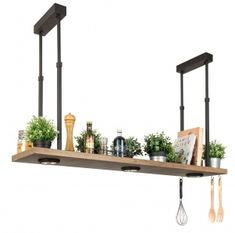 Hanging shelf with downlight spots for the kitchen by Breda Leuchten - Beleuchtung Diy Luminaire, Kitchen Wall Shelves, Home Coffee Stations, Room Lamp, Hanging Shelves, Downlights, Home Accents, Country Style, New Homes