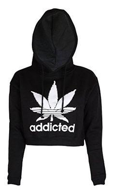 Noroze Womens Addicted Crop Top Hoodie Fashion  | Sweater | Shirt | Top | T-Shirt | Hoodie | Sweatshirt | TShirt | Tee | Tunic | Vest | Blouse | Marijuana | Cannabis | Clothing | Clothes | Weed