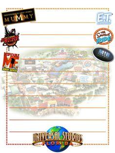 Scrapbook Journal, Journal Cards, Scrapbook Cards, Life Journal, Universal Studios, Universal Orlando, Walt Disney World Vacations, Disney Trips, Project Life Cards