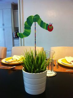 """The Very Hungry Caterpillar"" themed party by paperminties - table centerpiece stick/s https://www.facebook.com/Paperminties http://paperminties.blogspot.com"