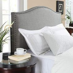 Upholstered Linen Fabric Headboard Nailhead Trim Full Queen Bedroom Furniture $197