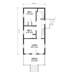 Cottage Style House Plan - 2 Beds 1 Baths 544 Sq/Ft Plan #514-5 Floor Plan - Main Floor Plan - Houseplans.com