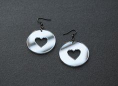 Mirror earrings mirror acrylic earrings heart by elfinadesign