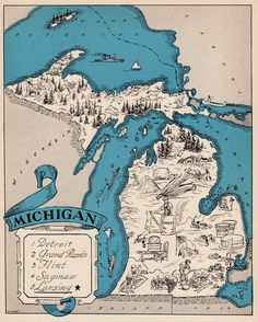 30's Whimsical MICHIGAN Map of Michigan State by OnTheWallPrints