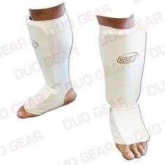 Duo Gear Mens Muay Thai Kickboxing Karate Shin and Instep White Medium by DUO GEAR -- For more information, visit image link.