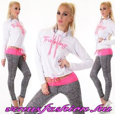 a4feab75a8 Divatos női szabadidő együttes szürke nadrággal és fehér pink felsővel -  Venus fashion női ruha webáruház
