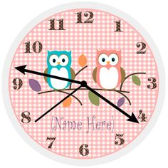 Girl's Cute Owl Custom Personalized For Bedroom / Bathroom / Nursery Decorating Wall Clock Art ✿ Owls On A Limb Collection✿