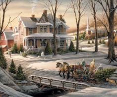 """Here's another winter view from Terry Redlin. A snowman awaits a family returning home with Christmas tree & children nestled securely in a horse-drawn sleigh. Artist: Terry Redlin : Item:914 : 1000 piece jigsaw puzzle: Finished size 24"""" x 30"""""""
