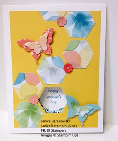 """Mom's Butterflies-based on a Dawn Olchefsky card, but I varied the layout and colors. Tricky lining it up and then when I was finished, seemed a little """"blah"""". So I did a second one - see that one also! - #JBStampers"""