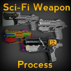 Sci-Fi Weapon Process, Michael Pavlovich on ArtStation at https://www.artstation.com/artwork/DJENe