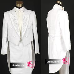 Mens White Vintage Historical Cut A Way Dress Clothes Outfits Tuxedo SKU-123046