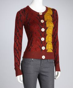 $39.99 - Take a look at this Knitted Dove Henna Field of Peacocks Wool-Blend Cardigan by Knitted Dove on #zulily today!
