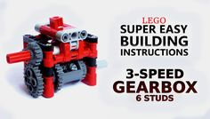 Super Easy Building Instructions - 3 Speed Gearbox - 6 studs - Lego Technic
