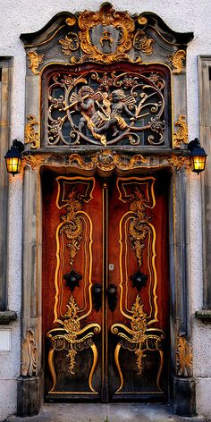 Beautiful wooden door in Gdansk, Poland
