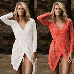 Bathing Suit Cover Ups Swimwear Women Beachwear Dresses Sexy Beach Up 2 Color Choices New Lace Shirt Saida De Banho Para Praia