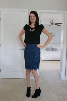 Stitch Fix Brixon Ivy Cyndi Lace Pencil Skirt Medium Black Blue Scalloped New Clothing, Shoes & Accessories Skirts