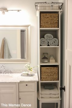 White bathroom vanty, tall cabinet, cottage style | This Mamas Dance