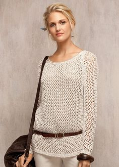 Chromatic Melange Open Net Stitch Sweater