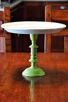 cake stand using a candlestick and plate (and spraypaint)