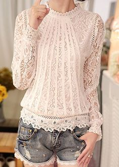 Long Sleeve Scalloped Hem Pierced White Blouse | lulugal.com - USD $26.37