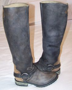 STEVE-MADDEN-WOMEN-LEATHER-RIDING-BOOT-HARNESS-DISTRESSED-SIZE-10-M-FLEURS-BACK