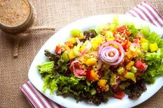 Red & Yellow Pepper Quinoa Salad with Spicy Mustard Dressing