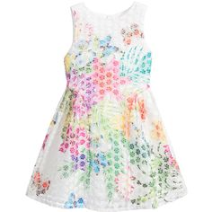 Derhy Kids, girls white flower embroidered organza dress, with a colourful flower and butterflies print over the top. It is sleeveless with a silky lining and a concealed zip fastener at the back. The skirt has a slight flare with pleating on the sides. This dress has a dual size, as a guide it is large fitting on an average 4 year old, and true to size on an average sized 6 year old.<br /> <ul> <li>100% polyamide (textured organza feel)</li> <li>Lining: 100% polyamide: (silky feel)</li…