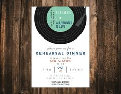 This fun record styled rehearsal dinner invitation is perfect for any music lover out there!  This listing is for one 5x7 digital file.  Rather