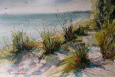 Kirk County Park Beach by Sandy Strohschein Watercolor ~ 12 x 16