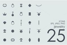 25 jewelry icons by Palau on Creative Market