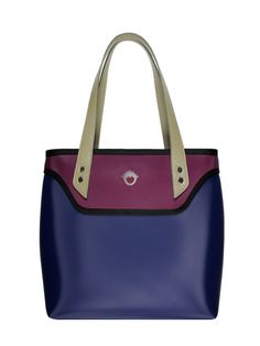 GOSHICO, aw2015, shoulder bag, navy blue + purple. To download high or low resolution product images view Mondrianista.com (editorial use only).
