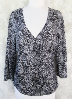 COLDWATER CREEK Top MEDIUM Black and Gray Paisley Crossover Pullon Ruching #ColdwaterCreek #KnitTop #Casual