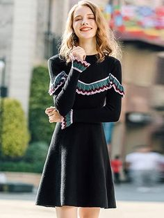 Black Knitted O-Neck Long Sleeve Ruffted Fit & Flare Dress Pleated Midi Dress, Floral Print Maxi Dress, Midi Dress With Sleeves, Women's Fashion Dresses, Casual Dresses, Bodycon Dress Parties, Black Knit, Fit Flare Dress, Trending Fashion