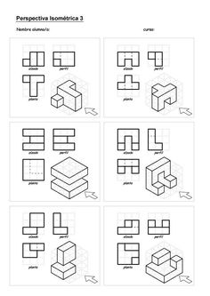 "Attēlu rezultāti vaicājumam ""isometric drawing exercises for kids"" Isometric Drawing Exercises, Isometric Art, Isometric Design, Drawing Skills, Drawing Techniques, Orthographic Drawing, Geometric Construction, Interesting Drawings, Drawing Activities"