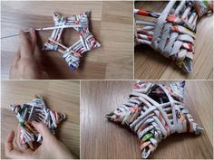gwiazda z papierowej wikliny Paper Ornaments, Ornament Crafts, Diy And Crafts, Christmas Crafts, Diy Paper Christmas Tree, Handmade Christmas Decorations, Paper Decorations, Recycled Magazine Crafts, Twine Flowers