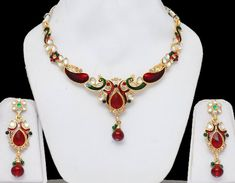Peacock Indian Jewelry Set With Red  Green Stones  Meenakari