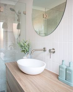 Such a fresh Springtime look 🌞 Thanks for sharing this sunny look with us @cinder.design.co ◻️ White Addis Satin ◻️ Promenado White #ichosebeaumonts #beaumonttiles #Spring2020 #tiles #ihavethisthingwithtiles #bathroom #terrazzo #subwaytiles White Bathroom Tiles, Bathroom Renos, Laundry In Bathroom, Small Bathroom, Bathroom Design Inspiration, Bathroom Goals, Bathroom Inspo, Bathroom Design Luxury, Bathroom Styling