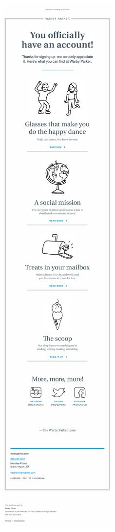 Welcome email - Warby Paker Newsletter – Email Gallery