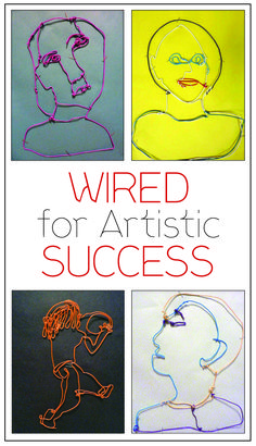 """""""Using a sculpture assignment modeled after the work of Alexander Calder, I have my students sketching, modeling and forming wire to represent the human form."""" — Julia Tomaro, Middle School Art Teacher  http://pubdev.ipaperus.com/ArtsandActivities/AAMay2015/?page=26"""