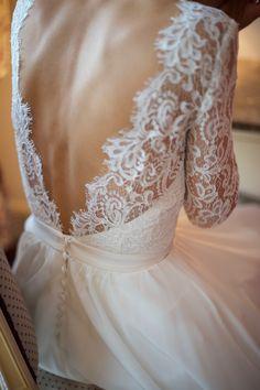 Robe de mariée Constance Fournier - mariée 2016 - Justine dentelle de calais rebrodée et mousseline de soie