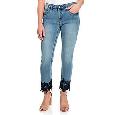 Update your basics with these cropped jeans from Kate & Mallory®! A fun twist on a classic style, they're made of stretchy denim and feature leaf and flo Diy Lace Jeans, Bling Jeans, Flower Crochet, Jeans For Sale, Fashion Essentials, Crochet Trim, Cropped Jeans, Stretch Denim, Classic Style